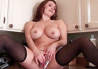 breasty redhead milf sweetheart toys her fanny in