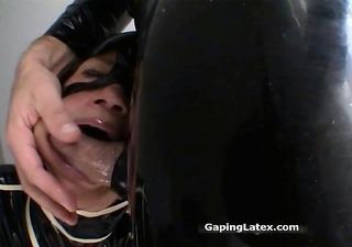 immodest brunette hair whore goes insane sucking