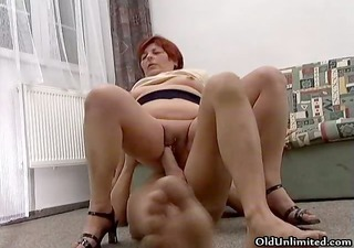 nasty redhead old floozy goes avid riding part7