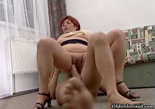 naughty redhead old slut goes crazy riding