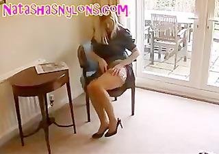 bitch english wife in retro underware and silk