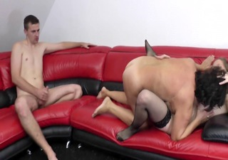 bbw-granny in threesome with youthful pair
