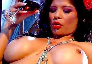 Gorgeous dark haired milf with huge bosom teasing